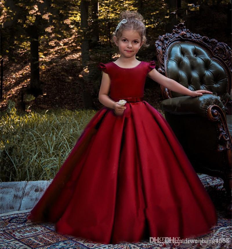 New Jewel Ball Gown Bow Satin Floor Length Ruffles Cheap Flower Girl Dresses Wedding Dresses Custom Made Cute vestidos de novia4363