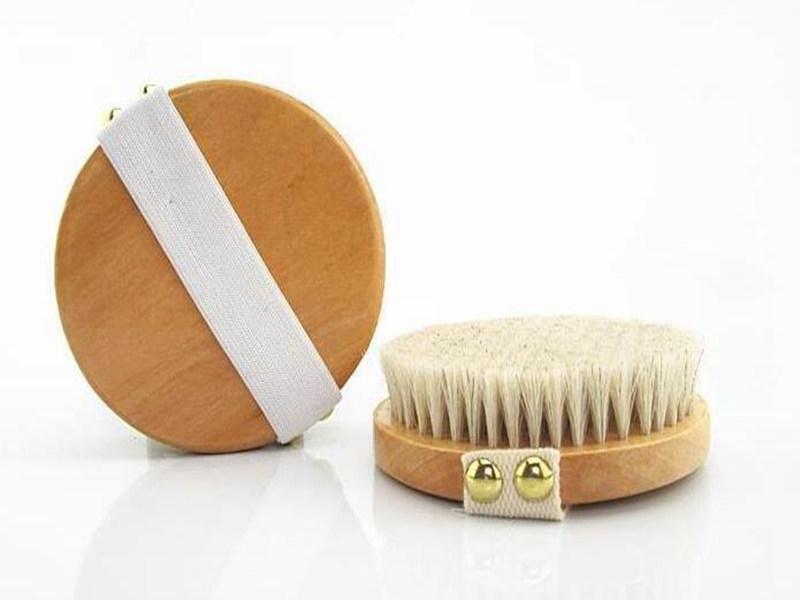 Crin naturel Gommage Bain Brosse sans poignée peau sèche Bain Douche Brosses SPA massage Brosses de douche en bois