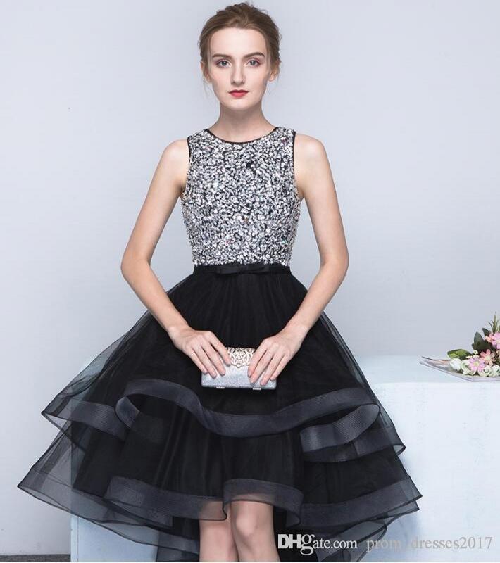 New Black Evening Dresses Noble Moda Primavera e Outono Antes E Depois Vestidos Long Short Hand-Made Bead Club Party