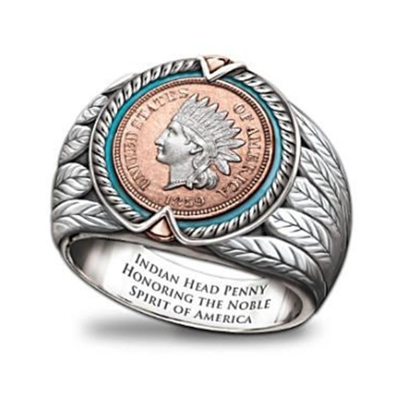 Bella lega d'argento placcato Ancient Indian Avatar Anello, uomo e anello del vento Universale Retro delle donne