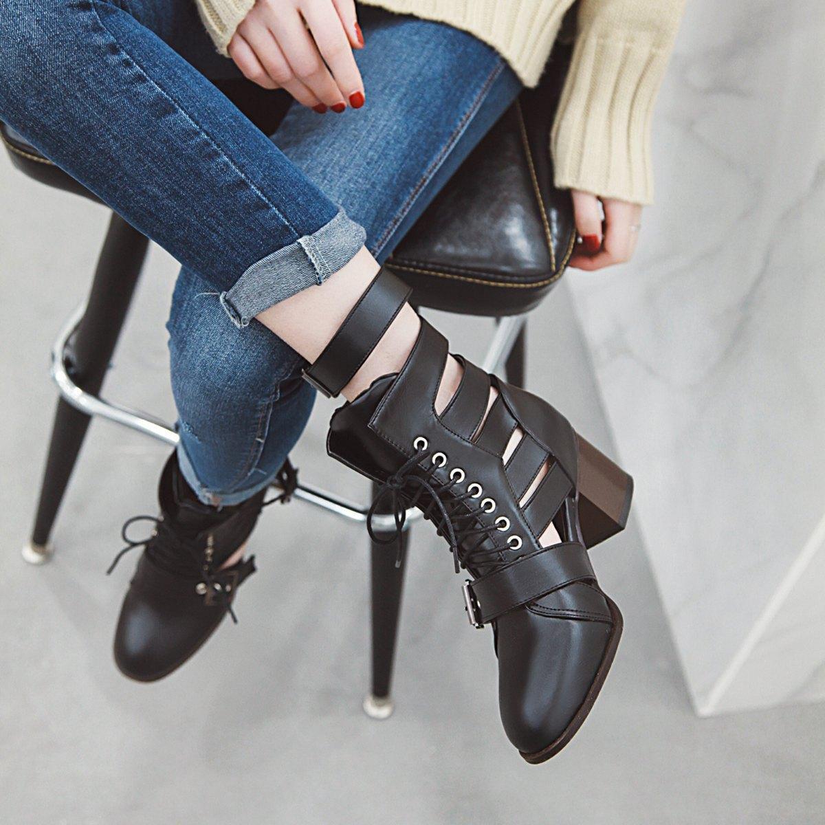 Sıcak Satış-yüksek Topuk Yuvarlak Ayak parmakları Kısa sandalet Botlar Gerçek Deri ayakkabı Kadın ayakkabı Kızlar Ayakkabı Bilek Boot Martin Boots büyük size34-43
