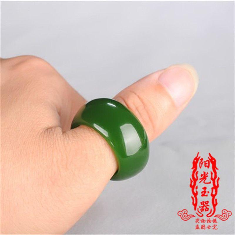 Envío libre Natural Hetian Biyu Anillo Nuevo hueso de espinaca verde jaspe anillo jade dedo jaspe