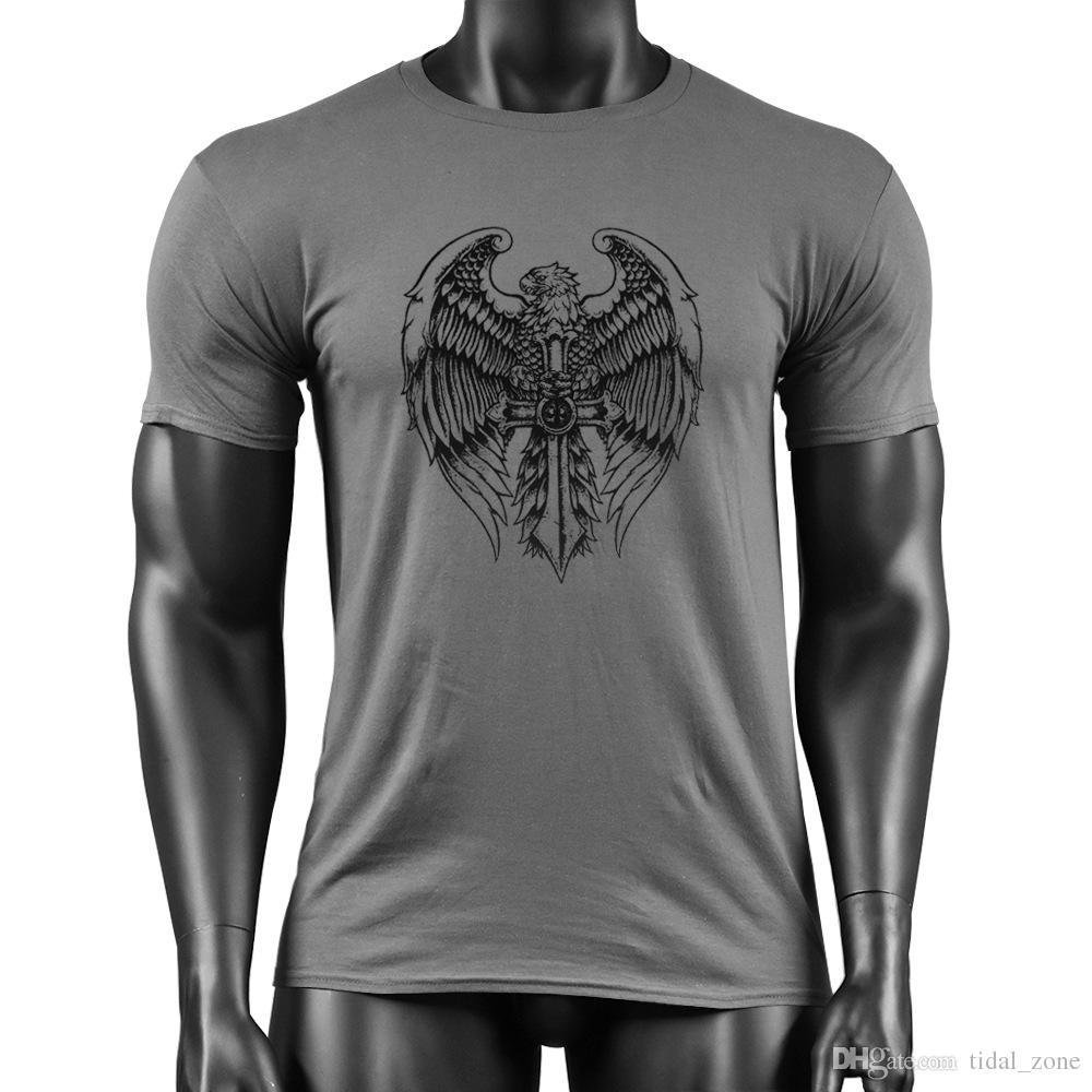 2019 новая мода популярный тренажерный зал мужской Фитнес Чистый Хлопок Eagle Cross Индивидуальный Печатный Футболка тренажерный зал футболка