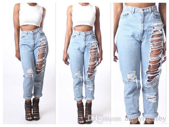 La moda de las mujeres del verano los pantalones rasgados agujero cortado Denim Jeans azul clara de cintura alta Lápiz dril de algodón flaco