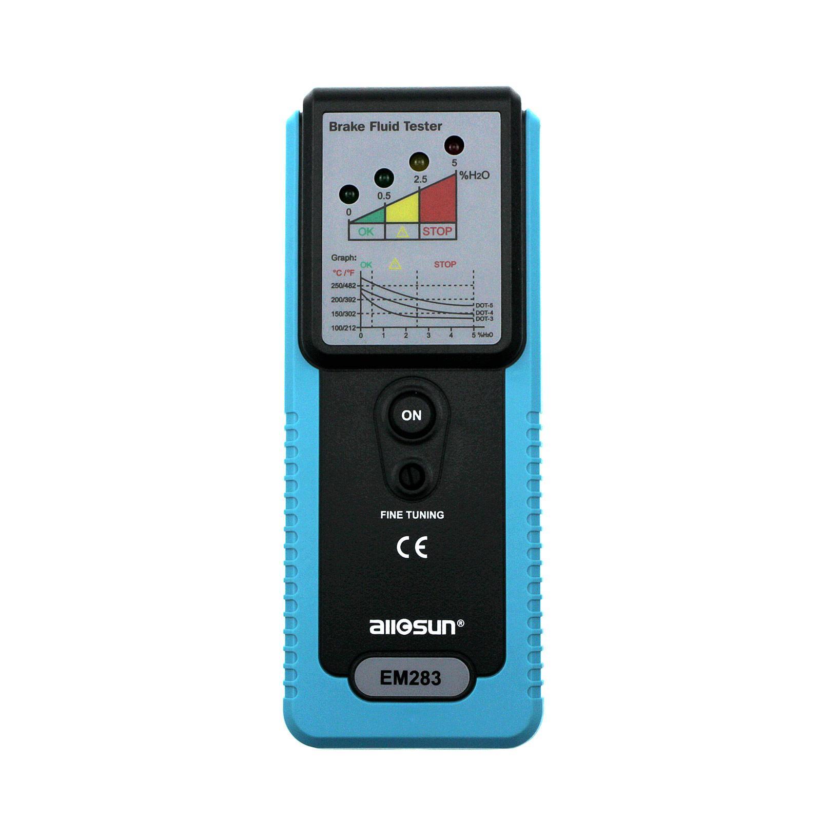 자동 브레이크 유체 시험기 LED 부저 품질 진단 도구 180 ° 주름 자동차 브레이크 오일 진단 감지기 모든-일 EM283
