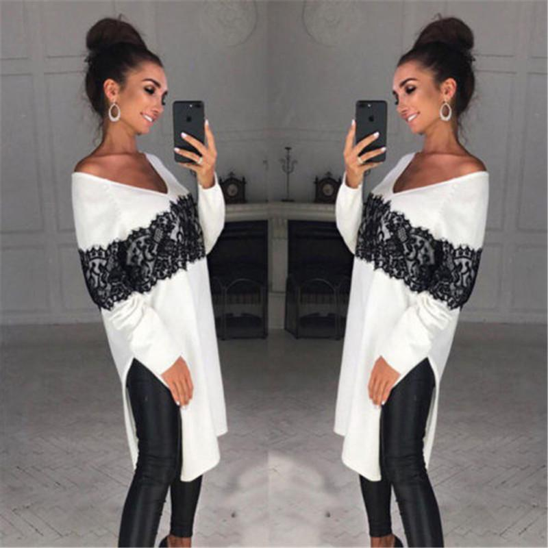 Casual largo del estilo señoras de las mujeres suéter manga larga asimétrica tapas flojas del cordón del remiendo suéteres Y200116