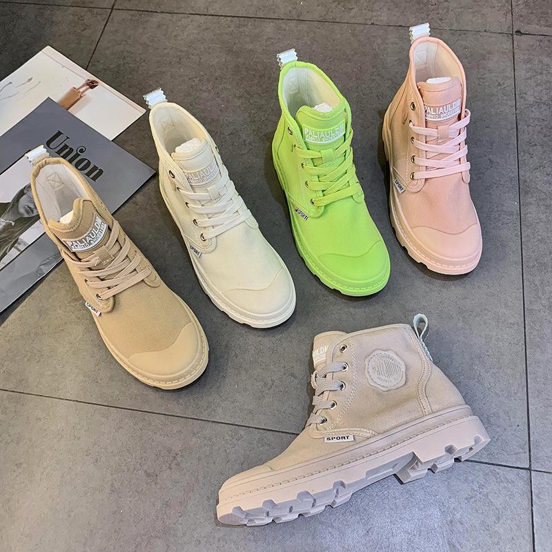 2019 여름 통기성 새로운 한국어 마틴 부츠 레저 영국 여성의 신발 트렌드에서 여성을위한 캔디 하이 탑 캔버스 신발