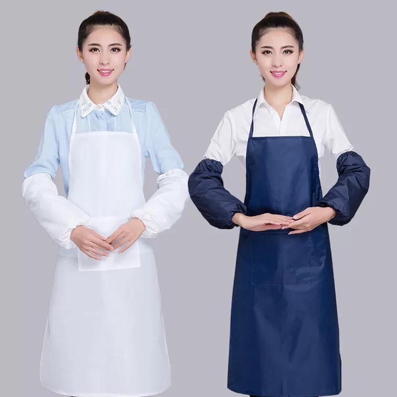 주방 방수 앞치마 방수 홈 주방 레스토랑 턱받이 포켓 드레스 요리 앞치마 (12) 성인 한국 스타일