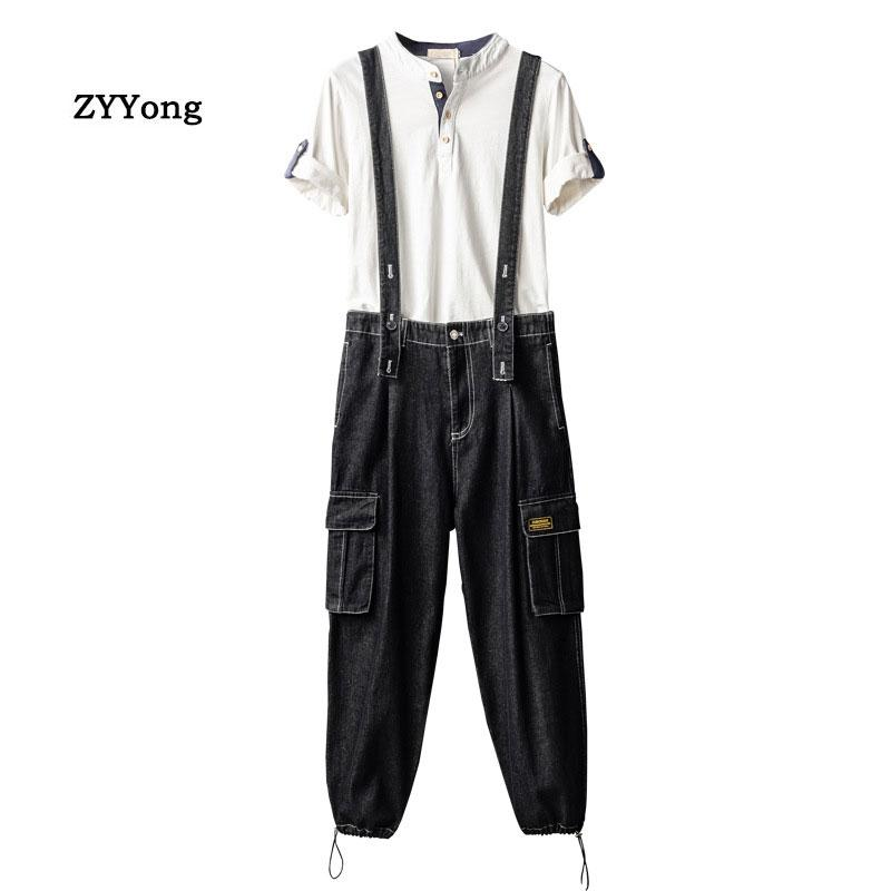Men Bib Overalls Denim Pants Beam Feet Casual Wash Loose Fashion Hip Hop Black Jeans Streetwear Jumpsuit Freight Trousers