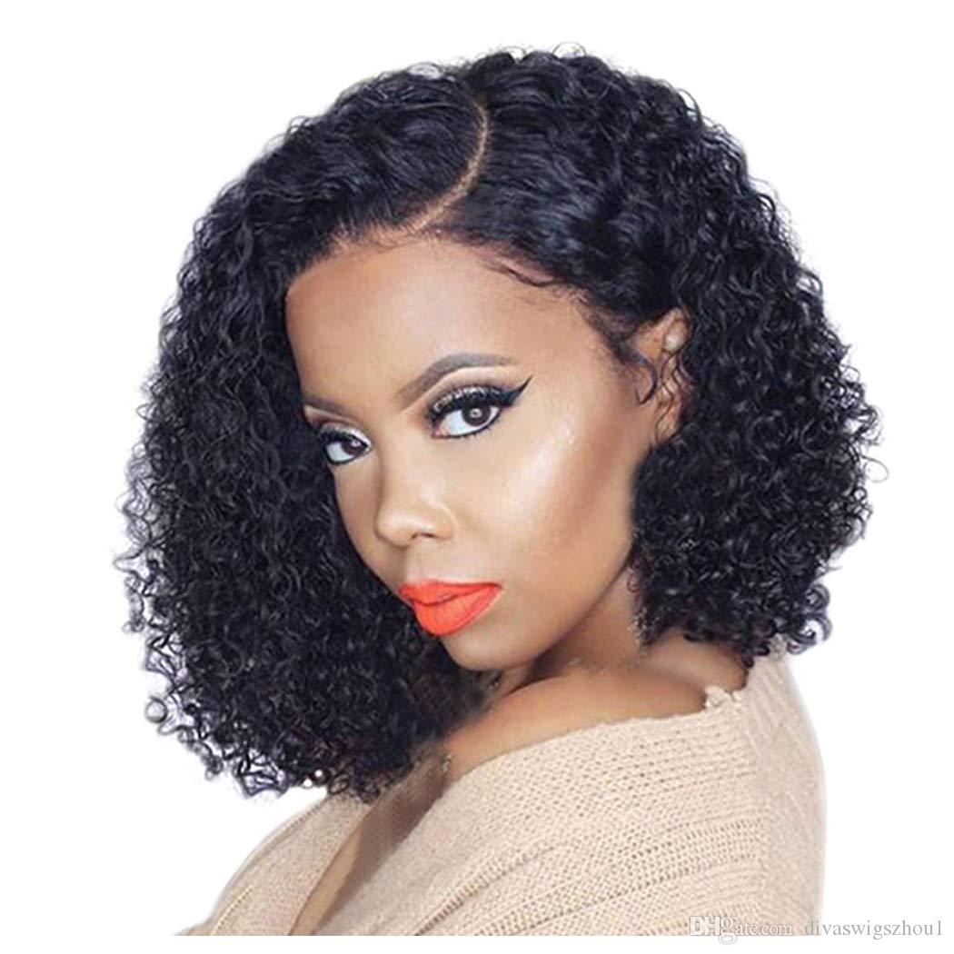 Großhandel Kurze Bob Haarschnitt Pre Gezupft Brasilianische Remy Haar  Lockige Lace Front Perücke 12 X 12 Tiefen Abschied 120% Dichte Echthaar  Perücken