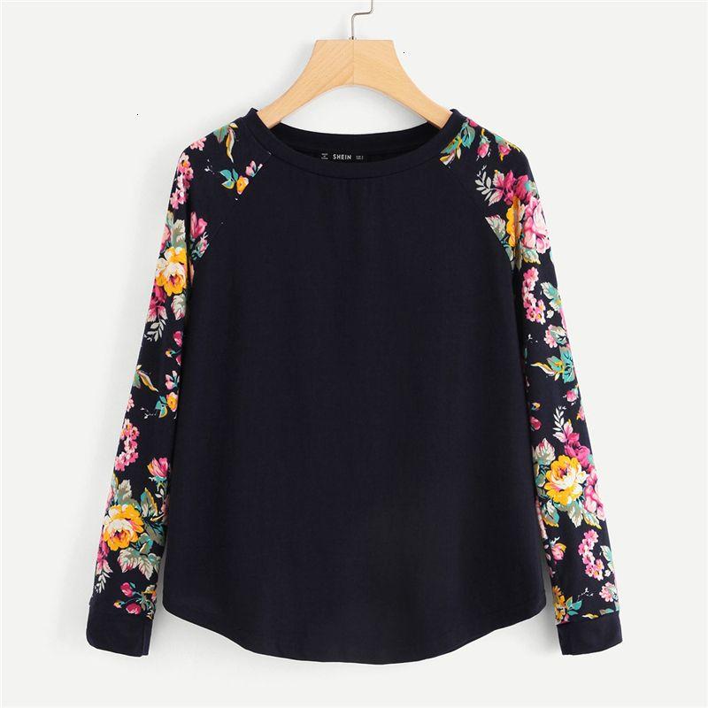 Maglie a manica lunga Womens Abbigliamento Donna Navy Donne Highstreet floreale elegante bicolore curvo Orlo manica lunga Tee T Shirt Casual Top