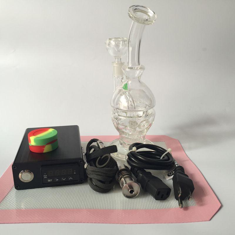 Enail Dnail Kit de calentador de bobina Con tubo de agua de vidrio Caja eléctrica de Dabber Caja de controlador PID inteligente Tempreture Herramienta Dab plataforma de silicona Mat