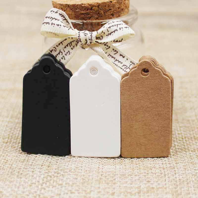 Verpackungsetikett 100 stücke Braun Kraft / schwarz / weiß Papier Tags DIY jakobsmuschel Label Hochzeitsgeschenk Dekorieren Tag 2 * 4 cm
