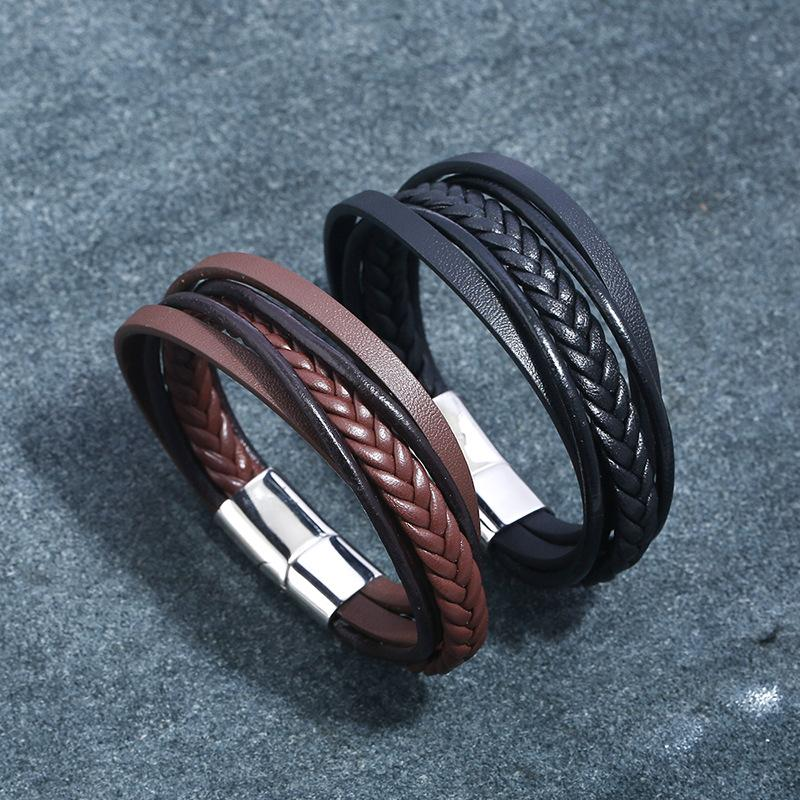 2019 Nuovo design multi-layer a mano in pelle intrecciata genuino gioielli braccialetto del braccialetto per gli uomini maschio mano per regalo di compleanno