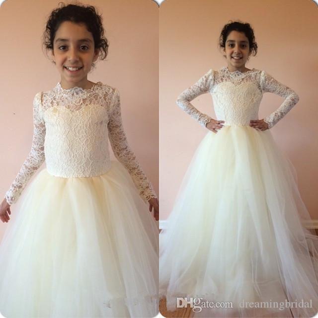 Custom Made Flower Girls Dress 2018 New Jewel Neck Long Sleeve Floor Length Crepe Flowergirl Lace Girls For Wedding Gowns