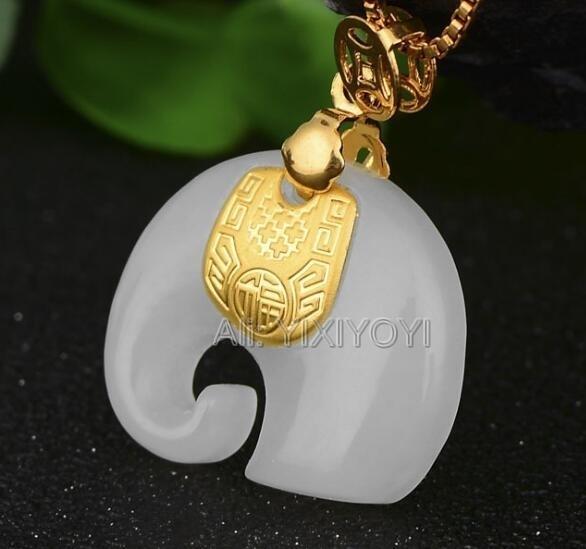 Natural White Hetian Jade + 18k Solid Gold Intarsiato Cinese Cute Elephant Amulet Pendente Fortunato + Collana Free Jewelry Certificato Y19052301
