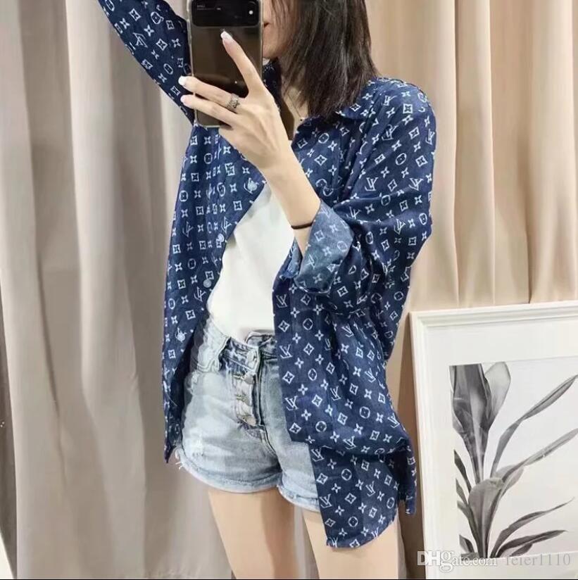 Jacquard preguiçoso vento longo protetor solar celebridade camisa web com o mesmo frouxo branco desgaste base de casual, preto e camisa azul