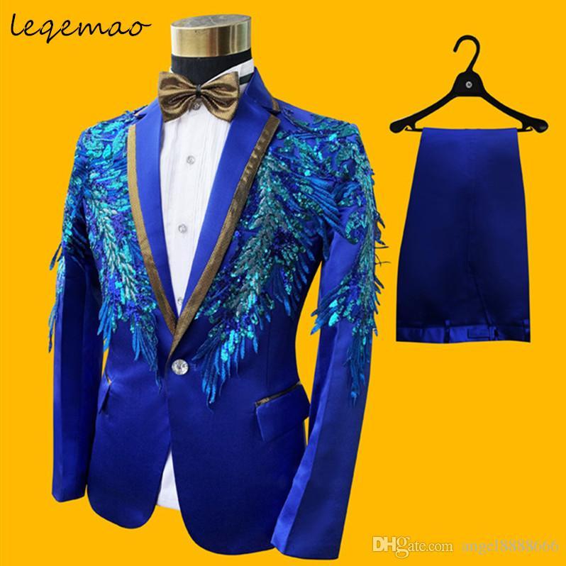 (jacket+pants+bow tie)male blue costumes men suit singer dancer show DS dance costumes outerwear coat DJ jazz nightclub performance stage pr