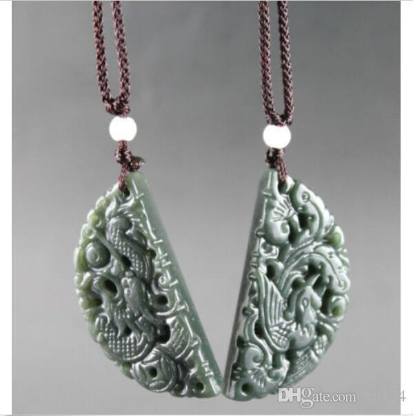 100/%Chinese Pure natural jade hand-carved Dragon and phoenix Pendants One pair