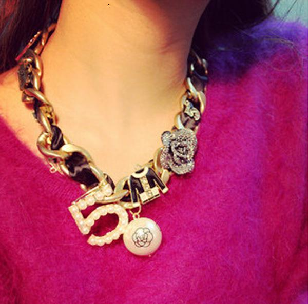 Mode Choker Collier tendance pour les femmes CNANIYA Marque Bijoux Rose 5 Résine Perle Big Chunky Colliers V191128