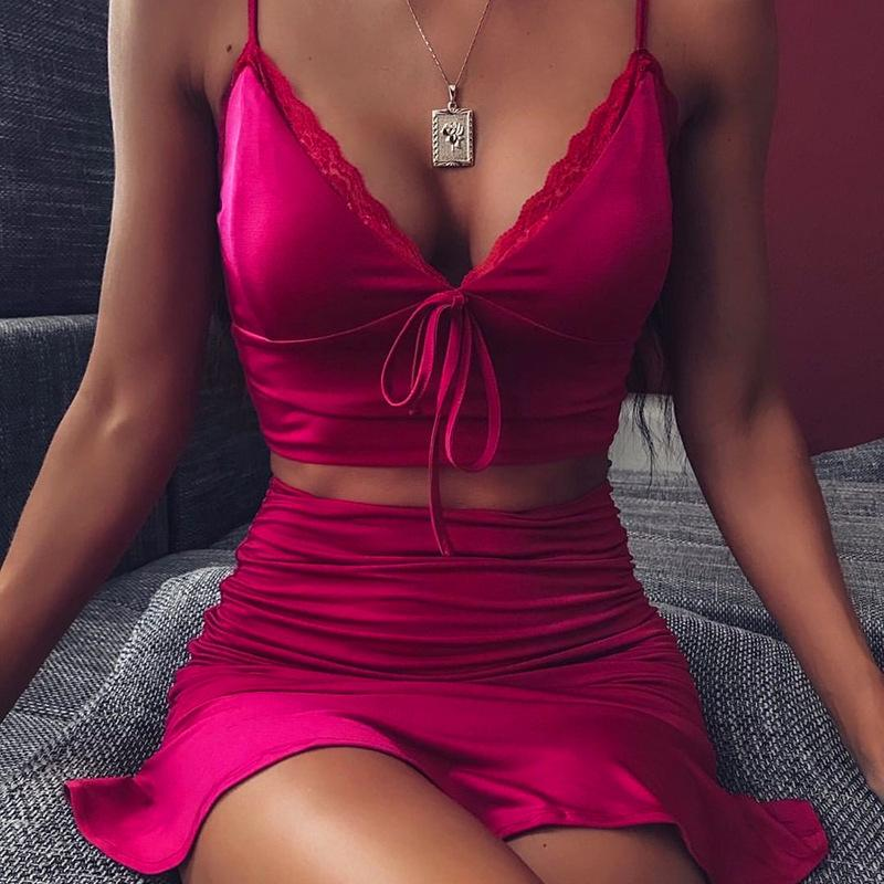 섹시한 2 종 세트 여성 슬링 로즈 핑크 V 넥 타이 활 레이스 자르기 최고 셔링 스커트 두 조각 세트 파티 나이트 클럽 매칭 세트