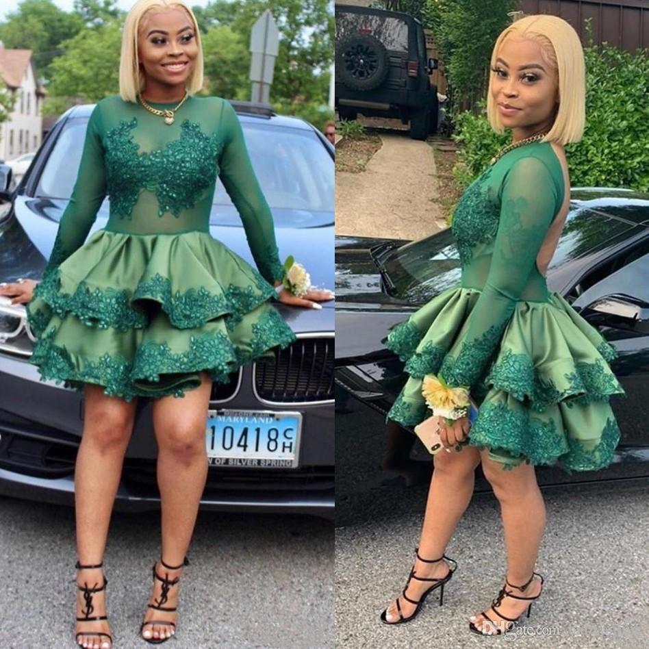 Темно-зеленый коктейль платья черные девушки Sheer Neck с длинным рукавом аппликацией Блестки Mini Short Пром платье Складки Homecoming платья