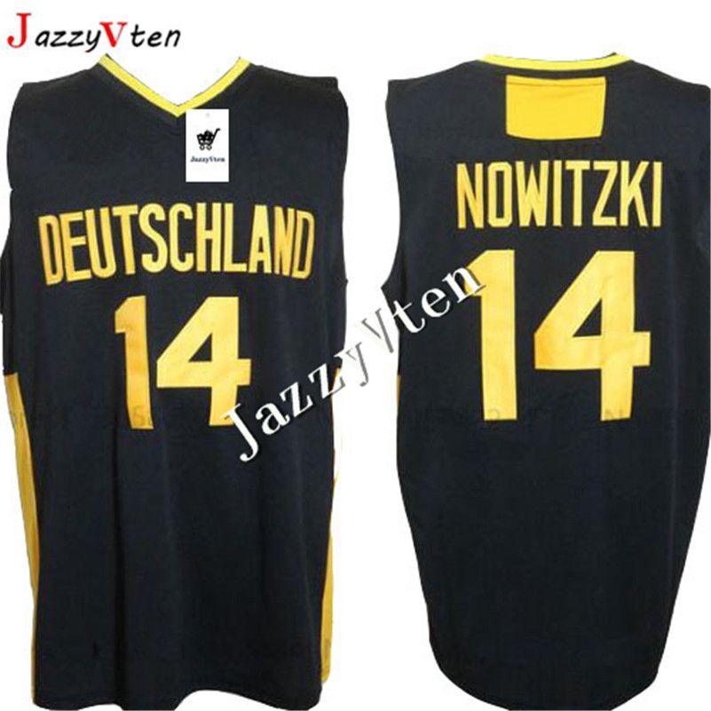 2019 새로운 디자인 남성 # 14 DIRK NOWITZKI TEAM DEUTSCHLAND GERMANY 대학 빈티지 저지 고교 저지 드롭 배송