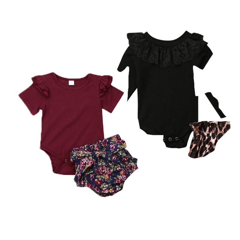 Baby Girl Solid Clothing Set Унисекс Лето Новорожденный Девочка Топы Комбинезон Боди Одежда Цветок Pp Брюки Наряды 0-24 Месяцев