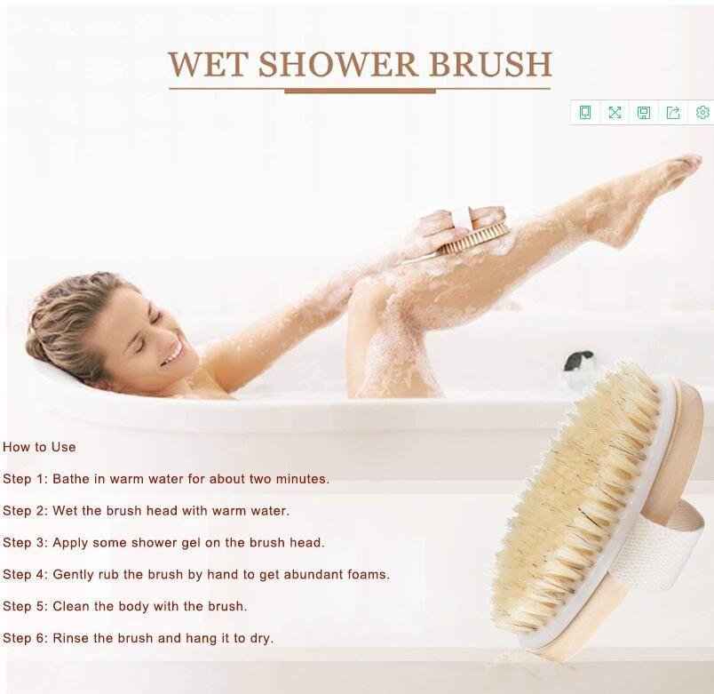 Heiße trockene Haut Körper weiches Haar Naturborstenbürste Holzbad Duschborstenbürste SPA Körperbürste ohne Griff Horny Clean