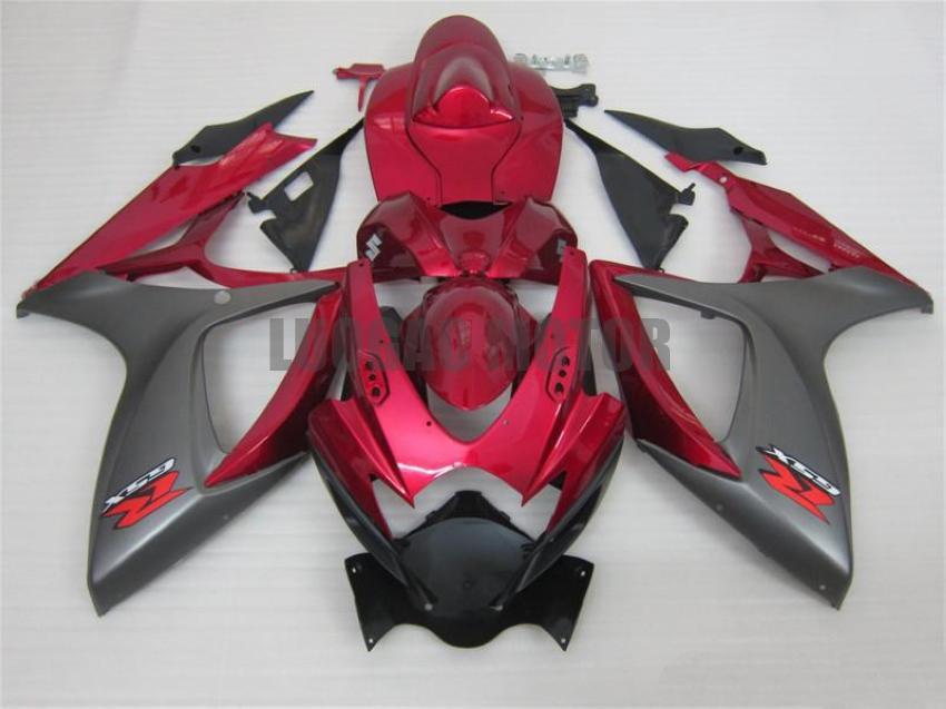 NEGRO PÚRPURA carenados ^ kit + regalos para SUZUKI GSXR600 K6 + GSXR750 2006 2007 GSXR600 GSXR750 cubierta del cuerpo de inyección de $ 06-07 parabrisas