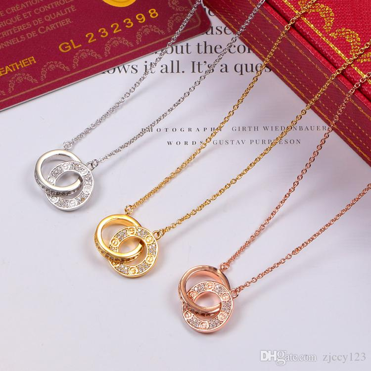 XX Fashion New Female LOVE Dual Circle Pendant Rose Gold Silver Necklace for Women Vintage Collar Costume Jewelry with original box set