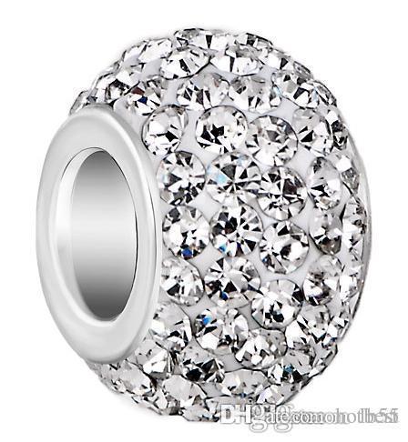 50 قطعة / الوحدة 10 ملليمتر * 12 ملليمتر الأبيض مختلط لون حجر الراين الفضة مطلي الراتنج كور الحفرة الكبيرة كريستال الخرز الأوروبي ، فضفاض الخرز أساور e2542 w62