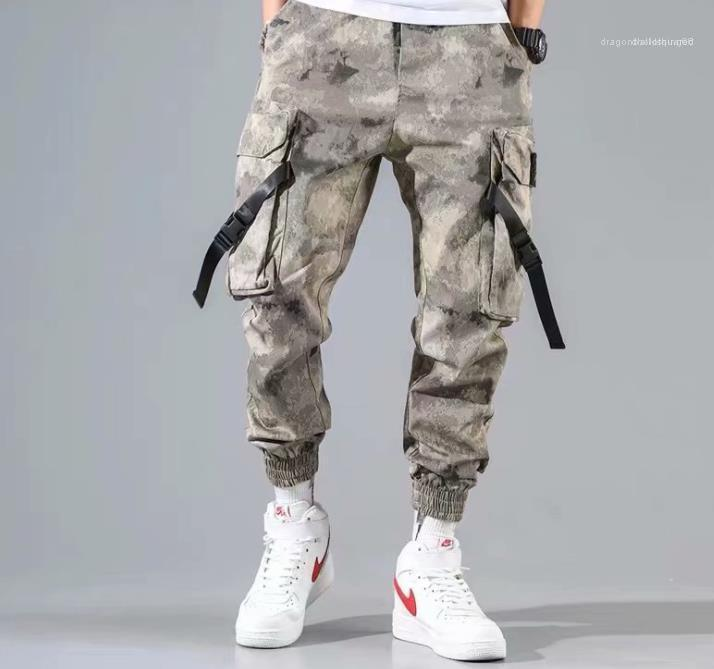 Homens Ins Estilo Calças Hip Pop Vestuário Mens calças cargo Moda bolso dos retalhos com cordão Calças de fitness