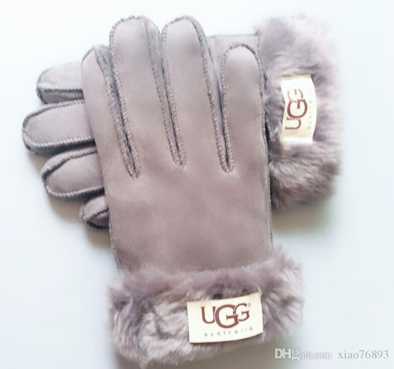 Femmes Ski Gants Sports de plein air Marque Designer Fur cuir Five Fingers Gants solides Couleur d'hiver en plein air Gants en cuir chaud 5