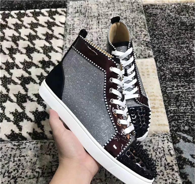 Novas Chegou Designer Brand new cor brilhante belos sapatos Spikes Flats parte inferior vermelha CALÇA amantes Homens Mulheres partido Sapatilhas de couro genuíno