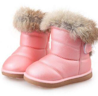 أطفال أحذية الأطفال المطاط أحذية الأطفال الشتاء رشاقته القطيفة أحذية الثلج الدافئ للأطفال الرضع جلدية قصيرة الطفل حذاء أبيض Y200104