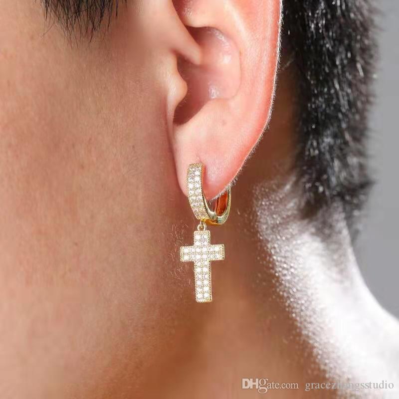 fuera helado mini-cruz cuelga los pendientes de aro hombres mujeres hip hop diseño de lujo del diamante de Bling colgando cristiana del regalo aros amante pendiente huggie