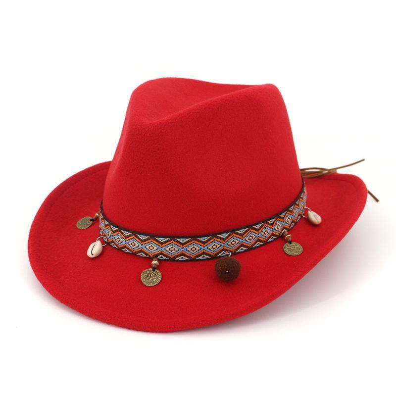 QIUBOSS Richard Petty Stetson Etnik Kurdele ile Batı Kovboy Hissettim Avustralya Pürüzsüz Finish Yün Erkekler Kadınlar için Fedora Şapka H ...