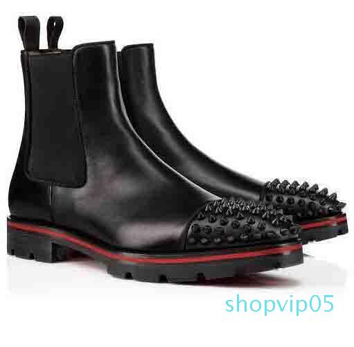 Italy Fashion Top Design Red Bottom Boots Men's Motorcycle Boots ankle boot for men Spiked Thick Soles Red Sole sneaker men boot spikes sued