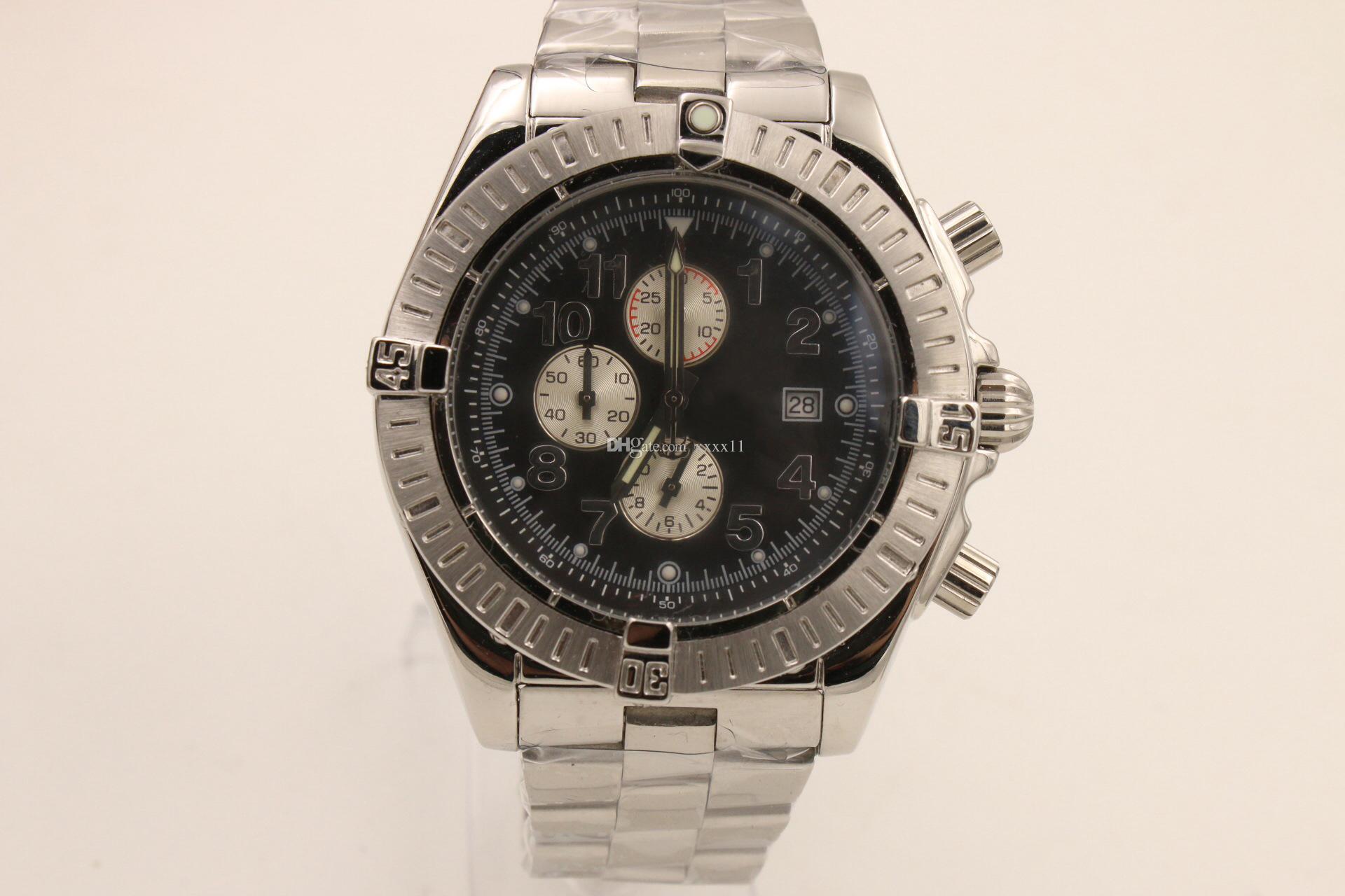 Новый черный циферблат кварцевые мужские часы из нержавеющей стали спортивные мужские секундомер маленькие указатели работа 1884 наручные часы бесплатная доставка