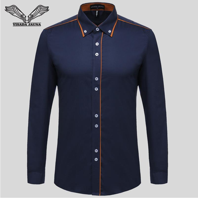 Europea Misura Men 'S Shirt Nuovo cotone Monopetto Slim business casual marchio di abbigliamento manica lunga Chemise Homme Super