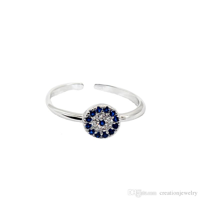 Charming S925 Sterling Silver Exquisite Blue Evil Eye Stacking Ring with Cubic Zirconia for Women JZR306