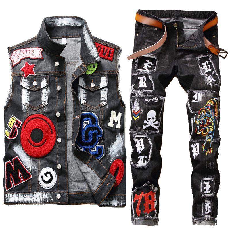 Denim 2 pezzi Mens lavato ricamati Suits Eagle Head vernice Vest + Logoro Tiger Skull Badge Slim piedi piccoli Stretch Jeans