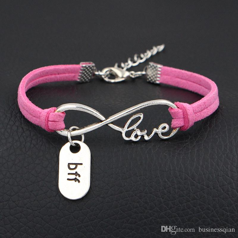 2019 New Design Metal Infinity Love Bff Best Friend Forever Charm Fashion Pink Leather Rope Cuff Bracelets Bangles Women Men Unique Jewelry