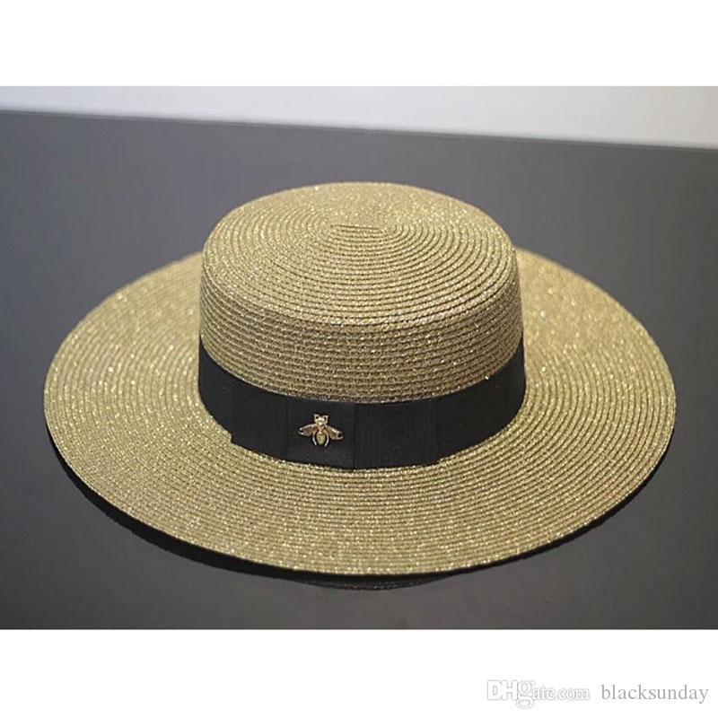 Or Retro Lady Visor Printemps Eté tissé Chapeau de paille de mode petite abeille en vrac Voyage crème solaire plat Cap