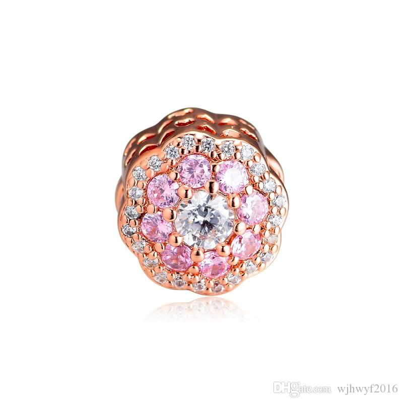 New Authentic 100% 925 Sterling Silver Pink shine Flower Charm Rose Gold Beads Fits Original Brand Bracelets DIY Jewelry Making