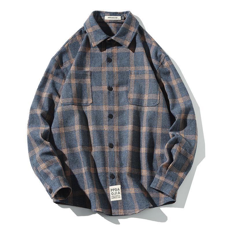 Camicia Uomo Autunno dal cotone della molla di grande misura 5XL lunga da uomo manica a quadri di grandi dimensioni Grandi Dimensioni camicie da uomo Camicie Casual Cotton II50CS