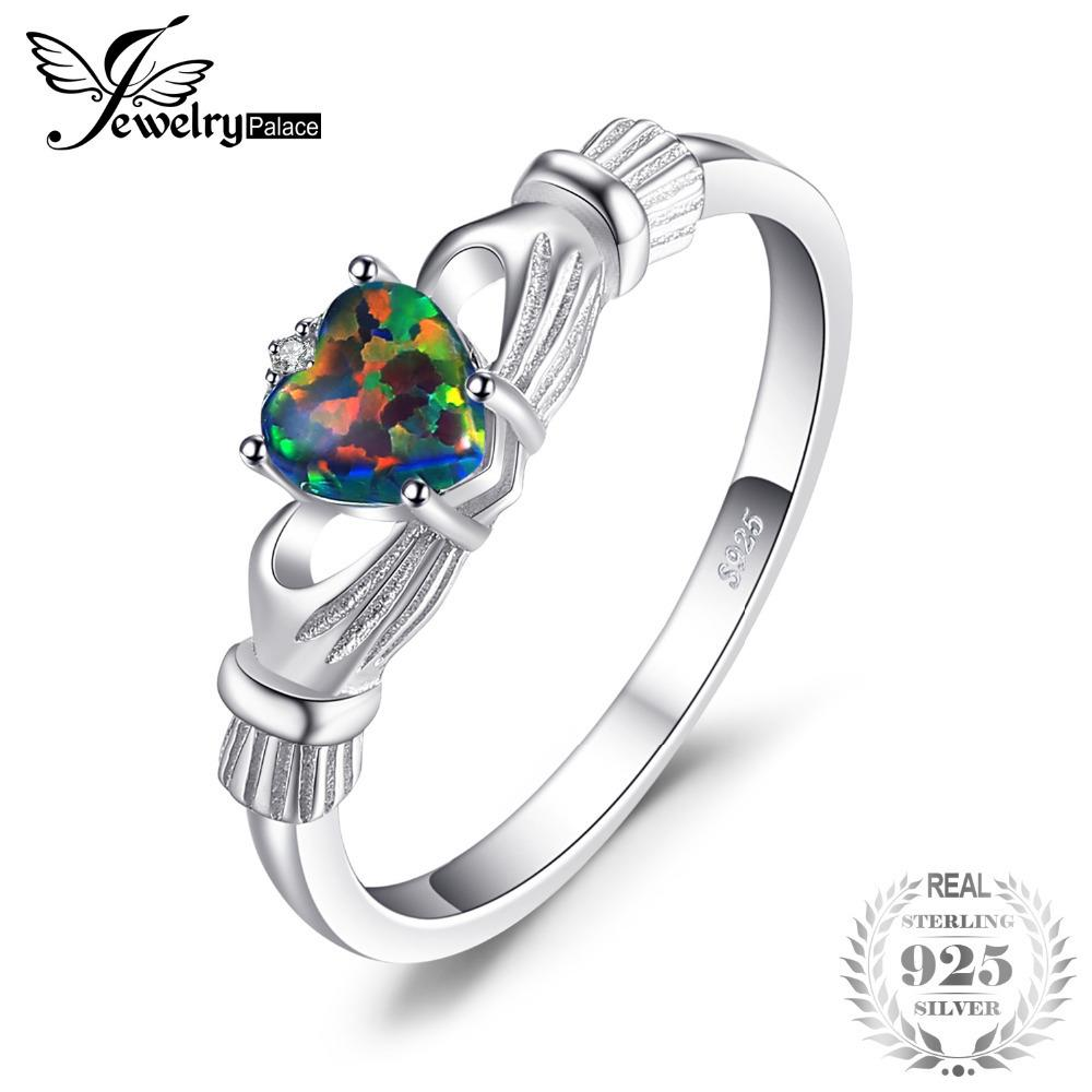 Jewelrypalace Black Fire Opal Multicolor Irish Claddagh Anello Solid 925 Sterling Silver Anelli Love Heart Rainbow Gemstone Jewelry J190528