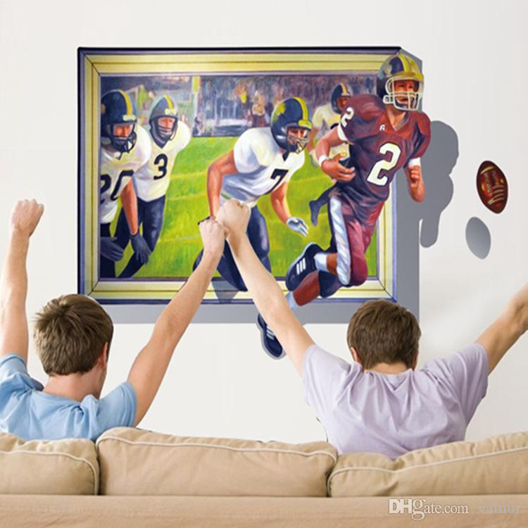 3D American Football wall sticker decals Rugby wall murals home decor and football wall stickers art sports pvc poster for kids room