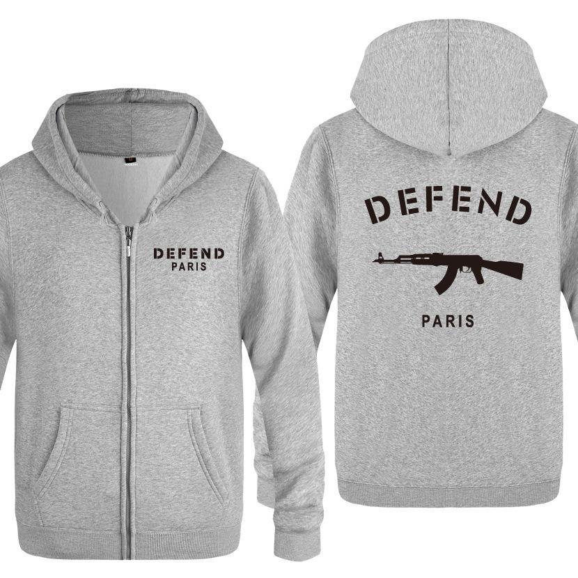 uomo con cappuccio cerniera Difendi Parigi stampato incappucciato autunno della molla hoodie sottile, stile Studente di scuola secondaria, street style V191216